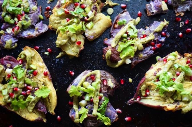 Loaded crispy smashed sweet & purple potatoes + avocado roasted chile crema