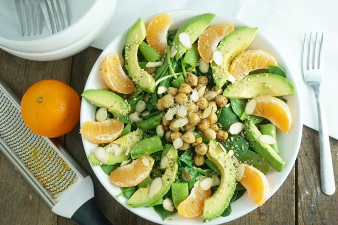 Warm chickpea & satsuma orange salad with citrus dressing + tips on eating well in the workplace