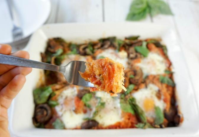 Baked spaghetti sqauash egg nest (grain-free, dairy-free)