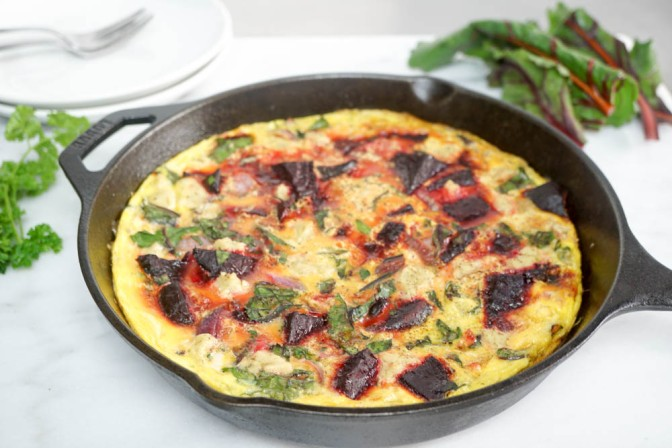 Herb beetroot & green frittata