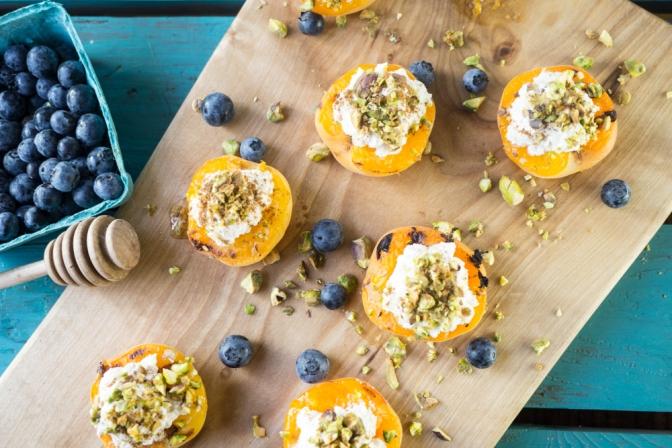 Grilled apricots + almond pistachio ricotta (vegan)