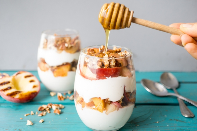 Grilled cinnamon peach, pecan + honey parfait